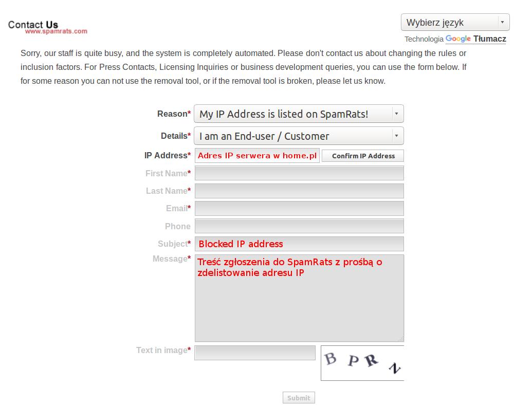 Co zrobić, jeśli mój adres IP znajduje się na liście RBL SpamRats?