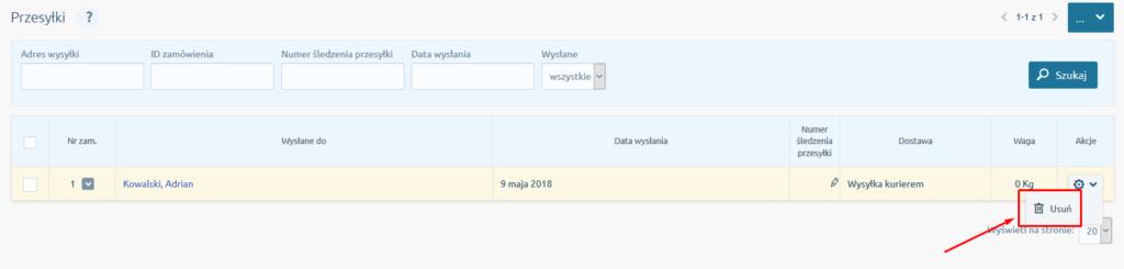 eSklep - Sprzedaż - Przesyłki - Wybierz przesyłkę i kliknij Usuń