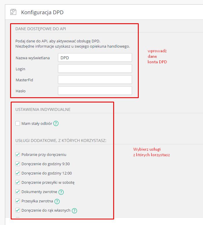 eSklep - Aplikacje - Moje aplikacje - DPD - Konfiguracja przewoźnika - Dane dostępowe do API / Ustawienia indywidualne - Wypełnij pola danymi wrażliwymi