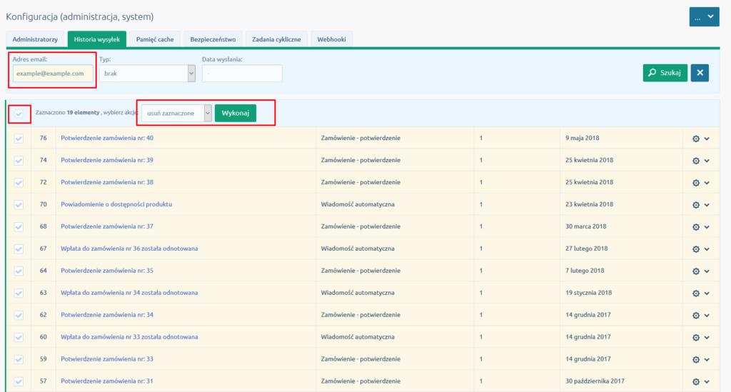 eSklep - Konfiguracja - Administracja, system - Historia wysyłek - Usuń wszystkie pozycje z historii wysyłek sklepu