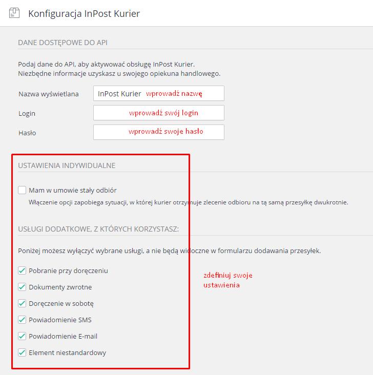 eSklep - Aplikacje - Moje aplikacje - InPost Express - Ustawienia aplikacji - Konfiguracja przewoźnika - Wypełnij pola danymi wrażliwymi