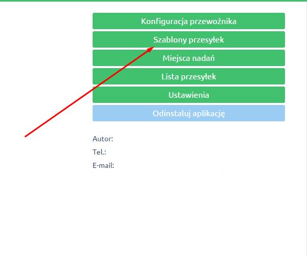eSklep - Aplikacje - Moje aplikacje - DPD - Kliknij przycisk Szablony przesyłek