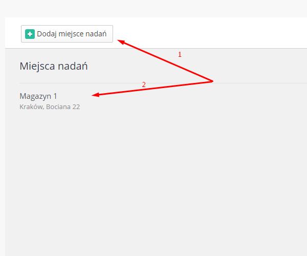 eSklep - Aplikacje - Moje aplikacje - InPost Express - Ustawienia aplikacji - Miejsca nadań - Zdefiniuj miejsce/miejsca nadań