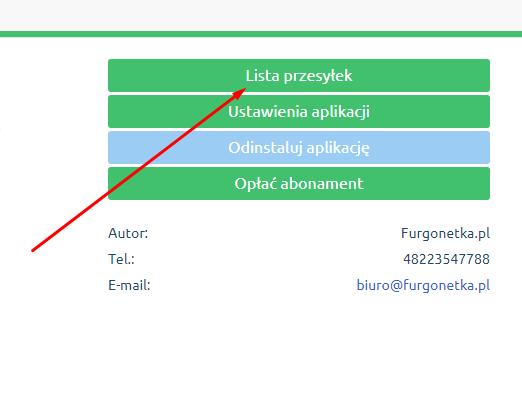 eSklep - Aplikacje - Moje aplikacje - Integracja z GLS - Ustawienia aplikacji - Kliknij przycisk Lista przesyłek