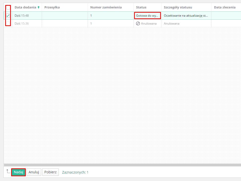 eSklep - Aplikacje - Moje aplikacje - Integracja z GLS - Ustawienia aplikacji - Lista przesyłek - Nadaj zbiorczo przesyłki poprzez przycisk Nadaj