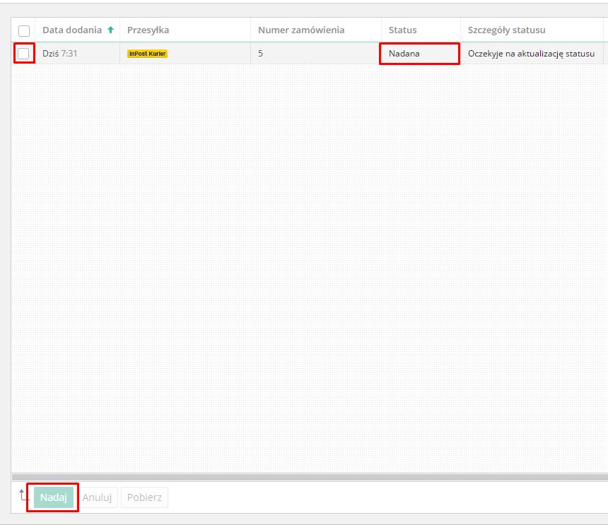 eSklep - Aplikacje - Moje aplikacje - InPost Express - Ustawienia aplikacji - Lista przesyłek - Zbiorczo nadaj przesyłki poprzez przycisk Nadaj