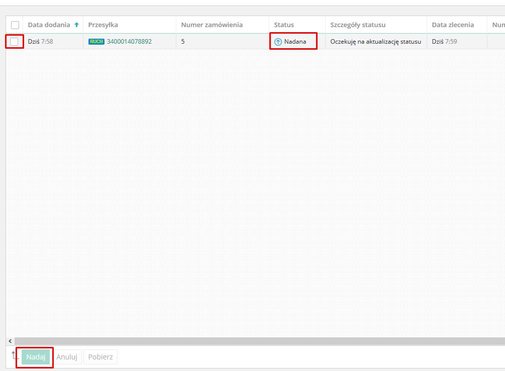 eSklep - Aplikacje - Moje aplikacje - Paczka w Ruchu - Lista przesyłek - Zbiorczo nadaj przesyłki poprzez przycisk Nadaj