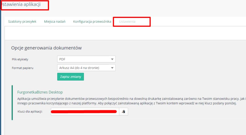eSklep - Aplikacje - Moje aplikacje - Integracja z GLS - Ustawienia aplikacji - Przejdź do zakładki Ustawienia