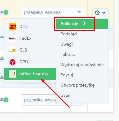 eSklep - Sprzedaż - Zamówienia - Wybierz zamówienie a następnie z menu Akcji wybierz Aplikacje - InPost Express