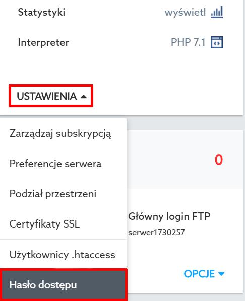Panel Klienta home.pl - Usługi WWW - Wybrana usługa - Serwer WWW - Ustawienia - Wybierz opcję Hasło dostępu
