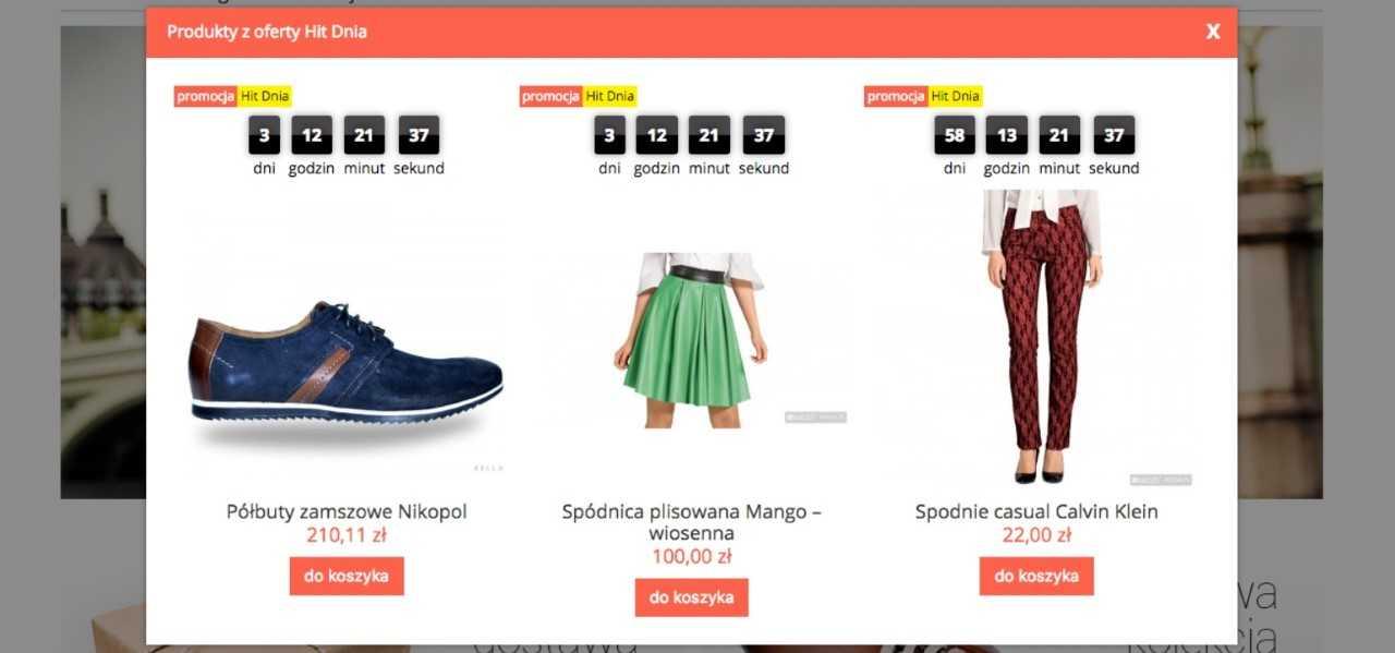 eSklep - Przykład działania aplikacji Hit Dnia w sklepie internetowym