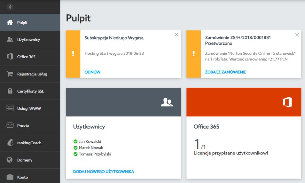 Przykładowy ekran startowy (pulpit) po zalogowaniu się do nowego Panelu Klienta home.pl