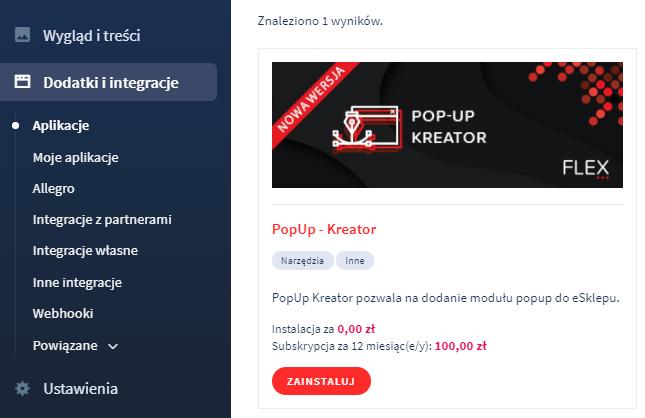 Aplikacja: Pop-up kreator