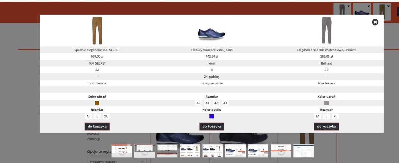 eSklep - Przykład działania aplikacji Porównywarka produktów w sklepie internetowym