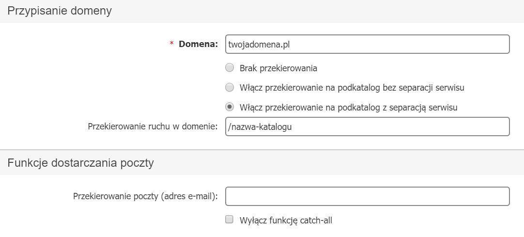 Panel klienta home.pl - Usługi - Nazwa serwera - Konfiguracja usługi - Przypisz domenę zewnętrzną - Wprowadź nazwę domeny oraz opcjonalnie ustaw jej przekierowanie na podkatalog lub przekierowanie poczty w domenie