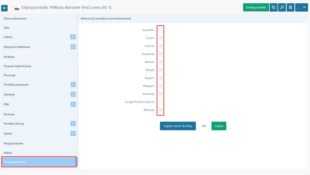 eSklep - Asortyment - Produkty - Edycja produktu - Porównywarki cen - Informacja o aktualnym statusie widoczności produktu w porównywarkach