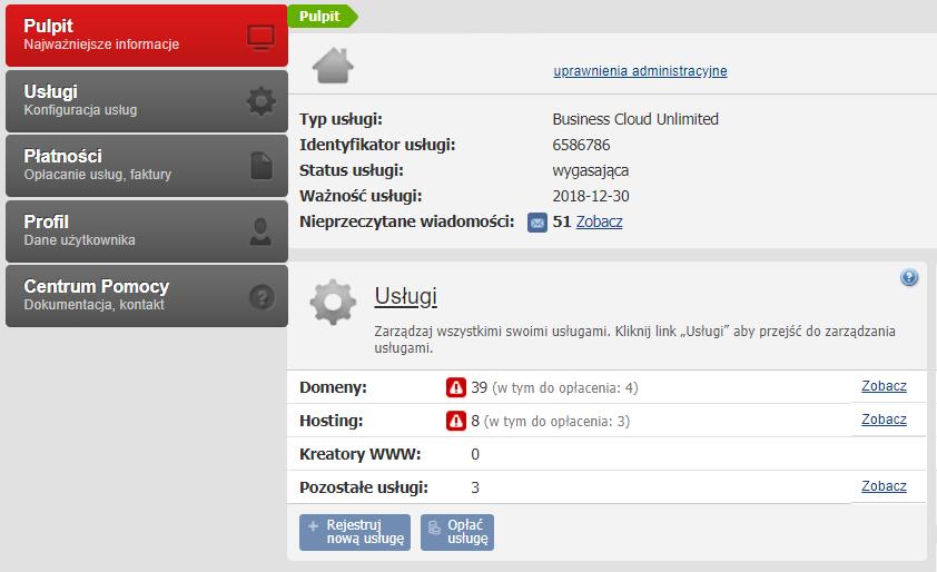 Przykładowy ekran startowy (pulpit) po zalogowaniu się do starego Panelu Klienta home.pl