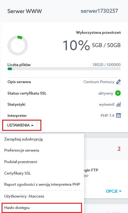 Zmiana hasła do usługi - home.pl