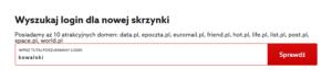 Wybierz adres e-mail, który chcesz zarejestrować w home.pl