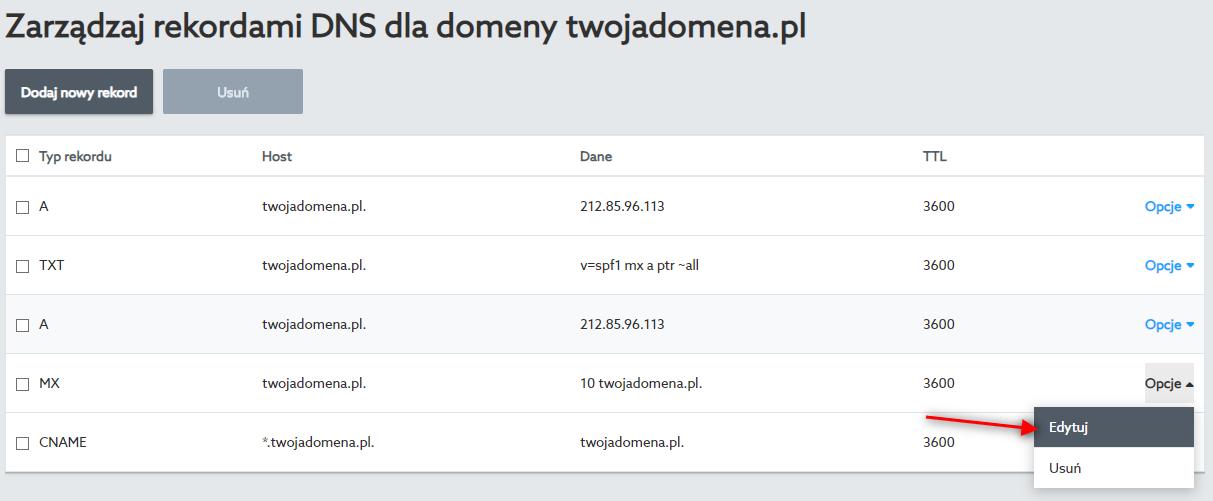 Edytuj rekord MX w strefie domeny, aby skierować ruch poczty na inny serwer