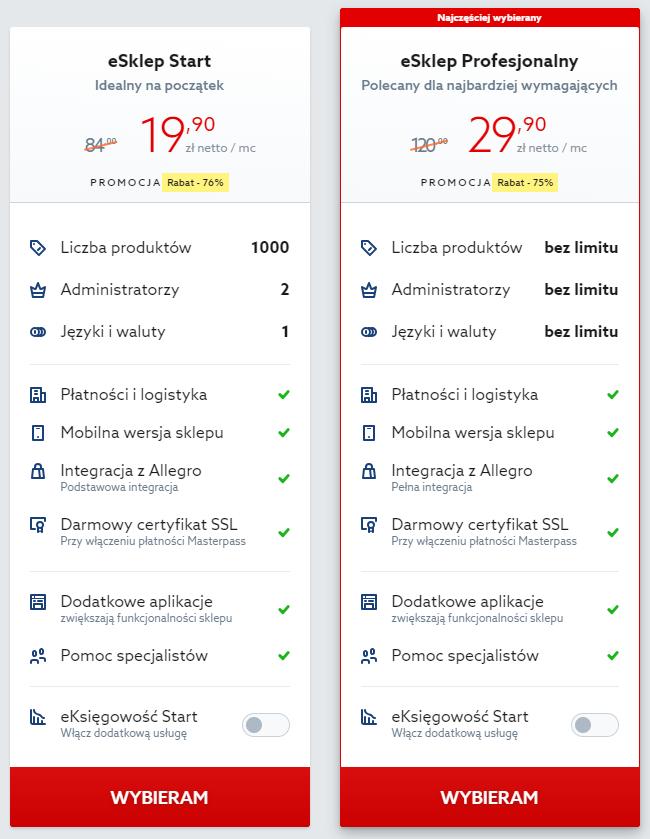 Wybierz pakiet sklepu, który chcesz zarejestrować w home.pl