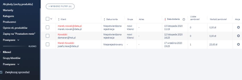 Wspólna lista Klientów zarejestrowanych i niezarejestrowanych oraz opcja filtrowania ich listy