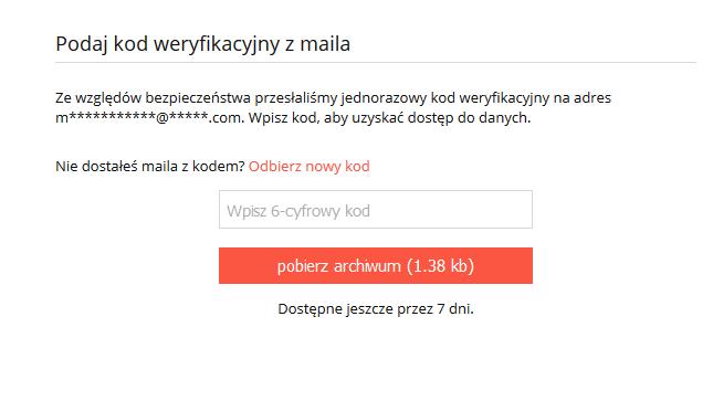 Wiadomość e-mail - Wpisz 6-cyfrowy kod aby pobrać archiwum
