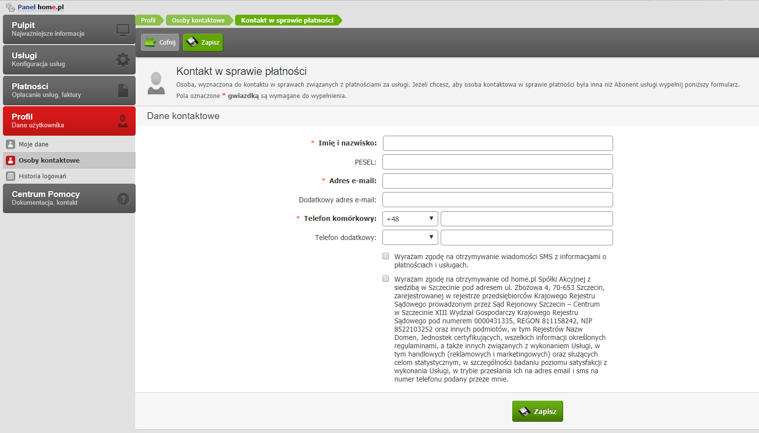 Panel klienta - Profil - Osoby kontaktowe - Zmień dane - Podaj dane osoby dla wybranego rodzaju kontaktu
