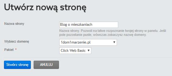 Panel Klienta home.pl - Kreator WWW - Utwórz nową stronę - Podaj nazwę strony WWW, z rozwijanej listy wybierz domenę pod którą witryna ma być widoczna