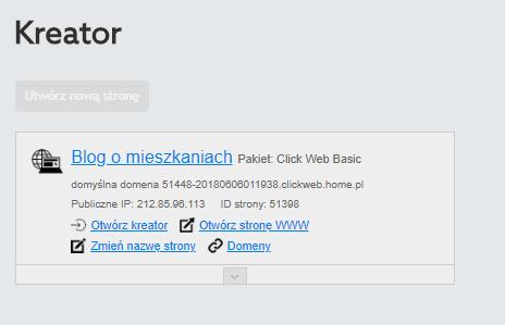 Panel Klienta home.pl - Kreator WWW - Pod wybranym kreatorem kliknij przycisk Otwórz kreator