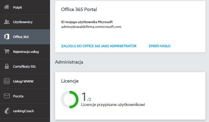 Panel klienta - Przejdź do sekcji Office 365 i kliknij w pole Licencje