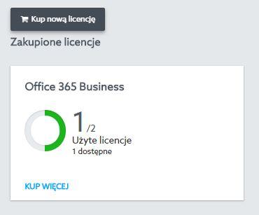 Panel Klienta - Office 365 - Licencje - Kliknij przycisk Kup nową licencję