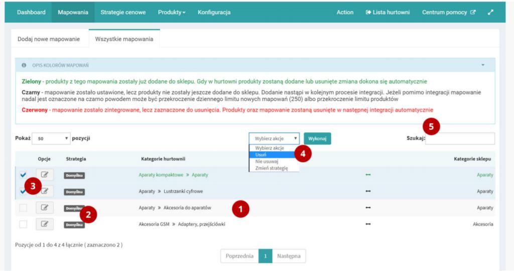 Integracja z hurtowniami - Action - Zakładka Mapowania - Wszystkie mapowania - Przykładowy widok istniejących już powiązań kategorii w sklepie eSklep