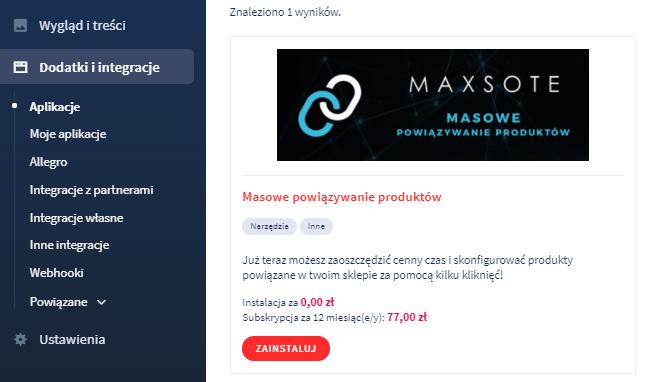 Aplikacja: Masowe powiązanie produktów