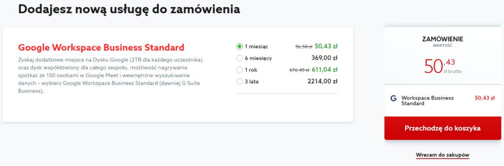 Koszyk home.pl z pakietem Google Workspace