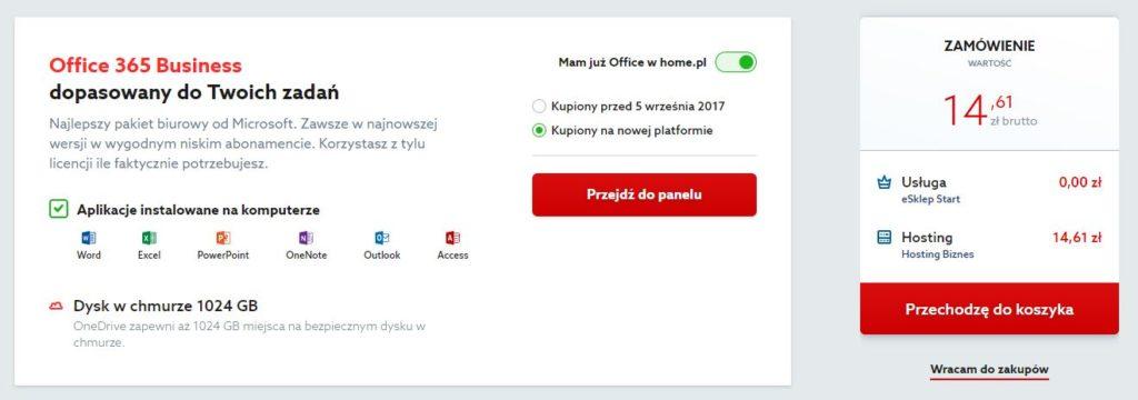 Oferta home.pl - Pakiet Office 365 - Wybieram - Zamówienie - Kliknij przycisk Przechodzę do koszyka