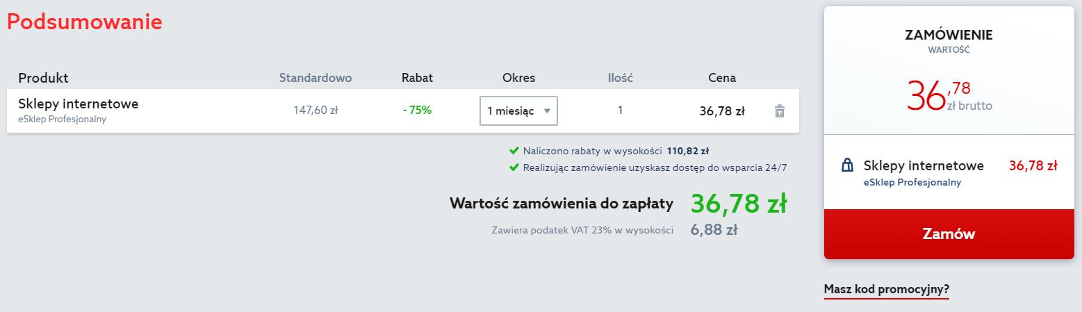 Podsumowanie zamówienia sklepu internetowego w home.pl