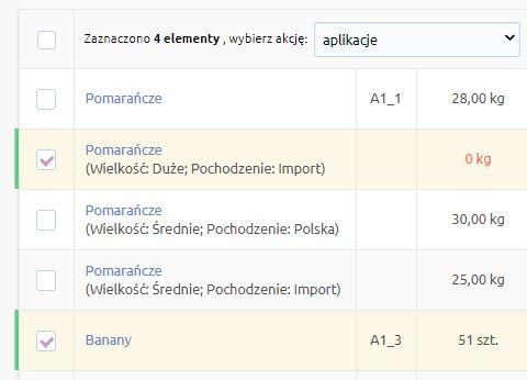 eSklep - Asortyment - Produkty - Zaznacz wybrane produkty i z menu wybierz Aplikacje - Powiąż produkty