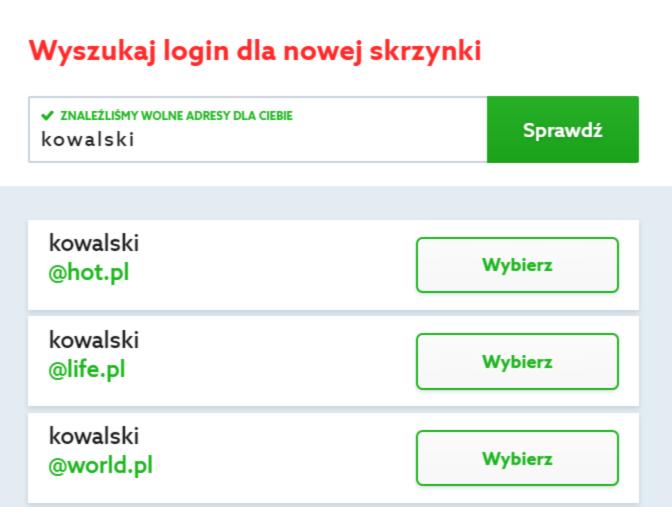 Wybierz adres e-mail, który chcesz zamówić w home.pl