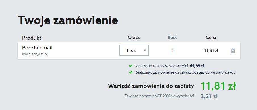 Podsumowanie zamówienia skrzynki e-mail w home.pl
