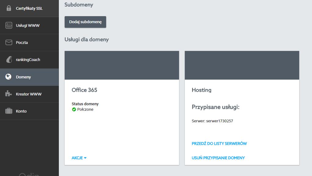 Panel klienta home.pl - Domeny - Domena - Odepnij domenę od hostingu do którego jest przypisana