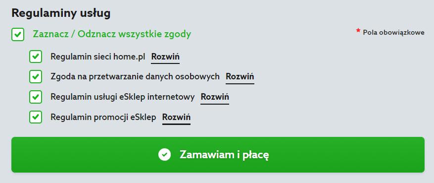 Home.pl - Sklepy internetowe - Oferta - Zamówienie - Podsumowanie - Twoje zamówienie - Regulaminy usług - Zapoznaj się poniżej z Regulaminami usług i zaznacz wymagane zgody