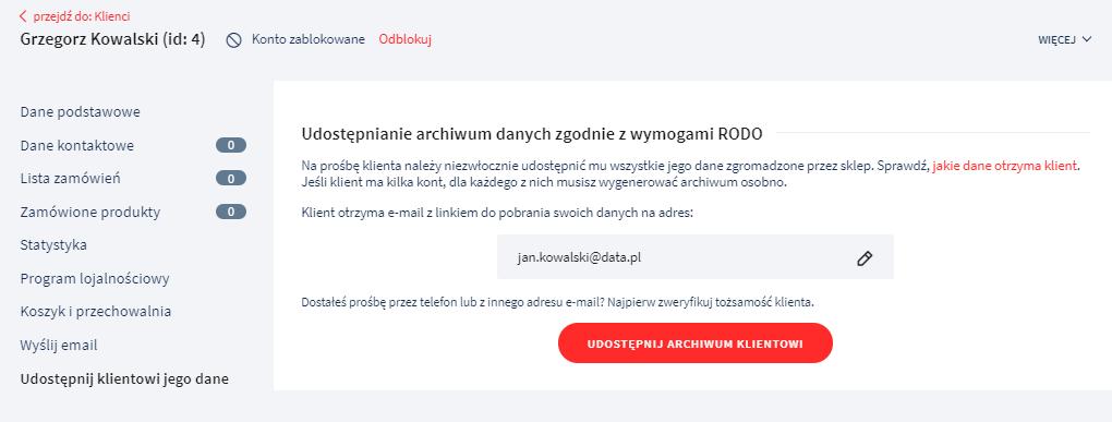 Eksport informacji o Kliencie (RODO) – edycja Klienta