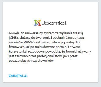 Panel Klienta home.pl - Usługi WWW - Hosting - Instalacje - Joomla - Kliknij przycisk Zainstaluj