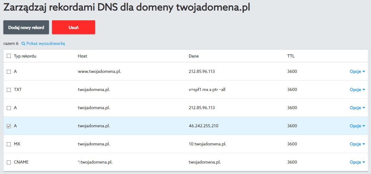 Rekord A kierujący na adres IP hostingu należy usunąć