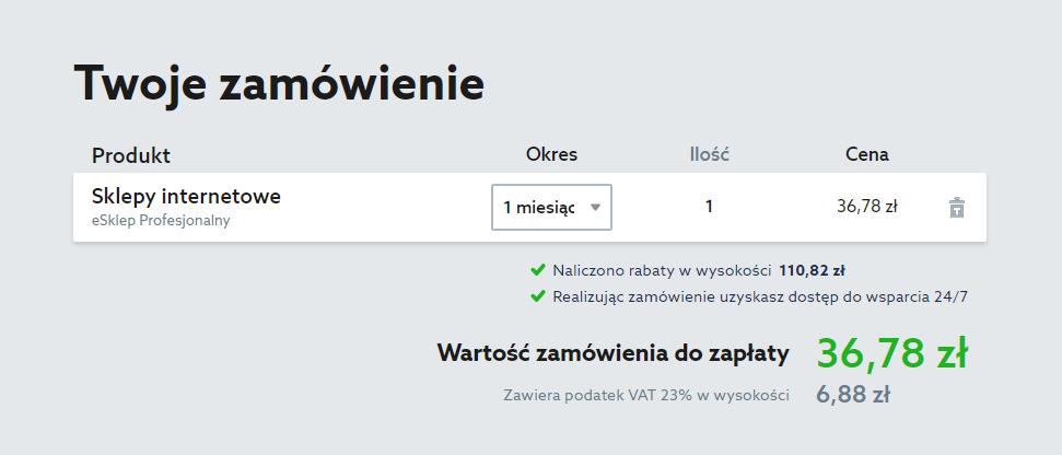 Zamówienie sklepu internetowego w home.pl