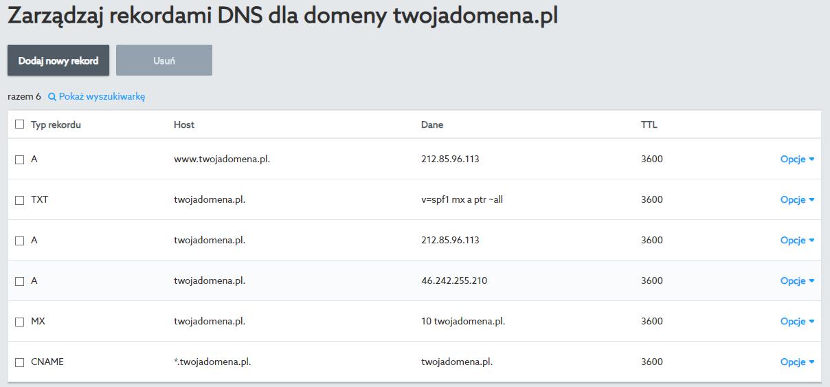 Rekordy domeny po zmapowaniu domeny w kreatorze WWW