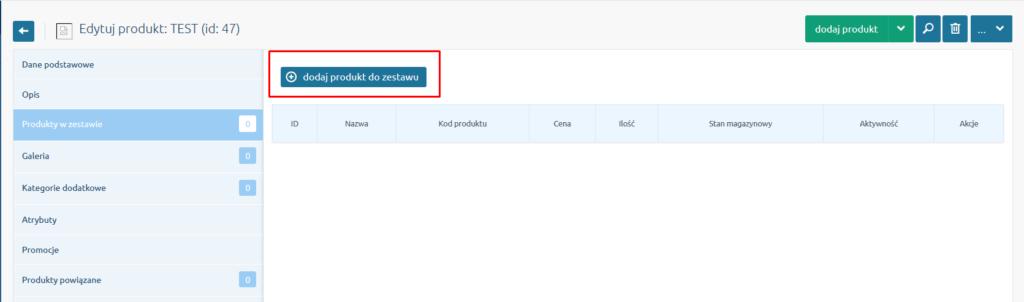 eSklep - Asortyment - Produkty - Produkty w zestawie - Kliknij przycisk Dodaj produkt do zestawu