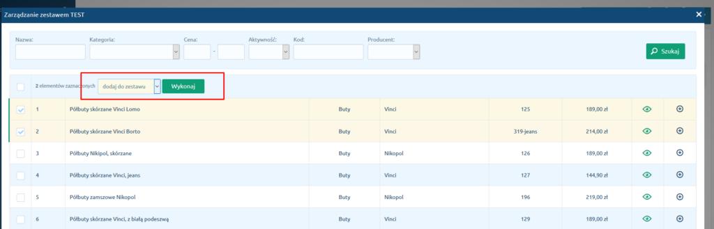 eSklep - Asortyment - Produkty - Produkty w zestawie - Dodaj produkt do zestawu - Zaznacz produkty i kliknij przycisk Wykonaj