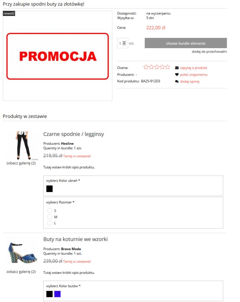 eSklep - Przykładowy widok zestawu produktu w sklepie internetowym